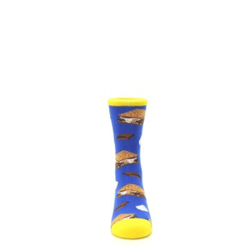 Image of Blue Marshmallow S'mores Kid's Dress Socks (front-04)