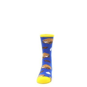 Image of Blue Marshmallow S'mores Kid's Dress Socks (front-05)
