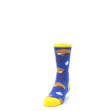 Image of Blue Marshmallow S'mores Kid's Dress Socks (side-2-front-06)