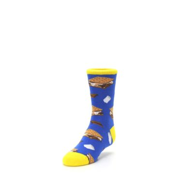 Image of Blue Marshmallow S'mores Kid's Dress Socks (side-2-front-07)