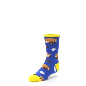 Image of Blue Marshmallow S'mores Kid's Dress Socks (side-2-front-08)