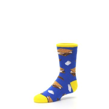 Image of Blue Marshmallow S'mores Kid's Dress Socks (side-2-09)