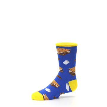 Image of Blue Marshmallow S'mores Kid's Dress Socks (side-2-10)