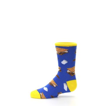 Image of Blue Marshmallow S'mores Kid's Dress Socks (side-2-11)