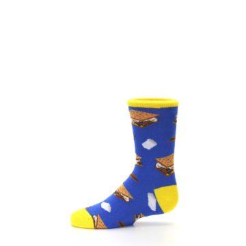 Image of Blue Marshmallow S'mores Kid's Dress Socks (side-2-11)