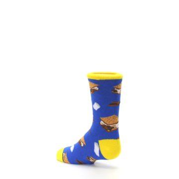 Image of Blue Marshmallow S'mores Kid's Dress Socks (side-2-back-14)