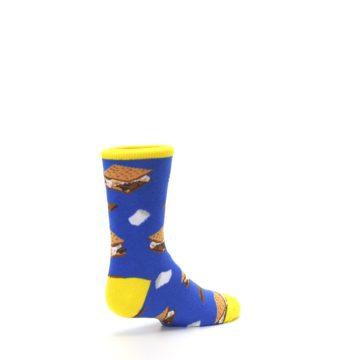 Image of Blue Marshmallow S'mores Kid's Dress Socks (side-1-back-22)