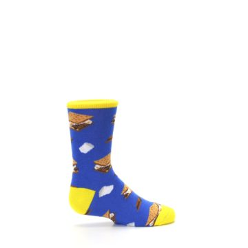 Image of Blue Marshmallow S'mores Kid's Dress Socks (side-1-24)