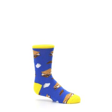 Image of Blue Marshmallow S'mores Kid's Dress Socks (side-1-25)