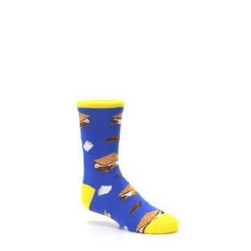 Image of Blue Marshmallow S'mores Kid's Dress Socks (side-1-26)