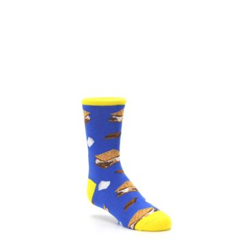 Image of Blue Marshmallow S'mores Kid's Dress Socks (side-1-27)