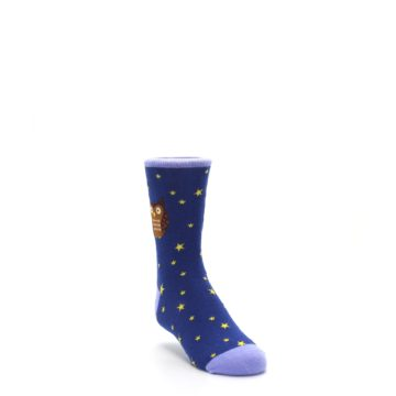 Image of Blue Brown Hoot Owl Kid's Dress Socks (side-1-front-02)