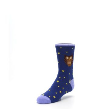Image of Blue Brown Hoot Owl Kid's Dress Socks (side-2-front-08)