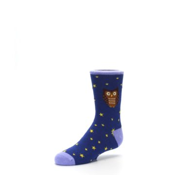 Image of Blue Brown Hoot Owl Kid's Dress Socks (side-2-09)