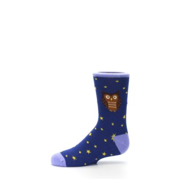 Image of Blue Brown Hoot Owl Kid's Dress Socks (side-2-11)