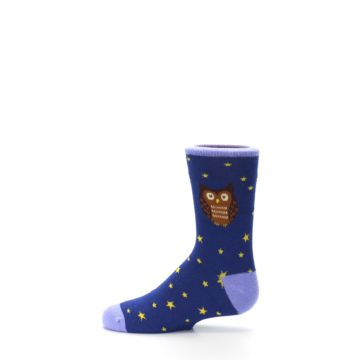 Image of Blue Brown Hoot Owl Kid's Dress Socks (side-2-12)