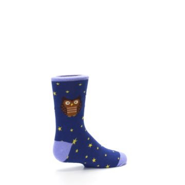 Image of Blue Brown Hoot Owl Kid's Dress Socks (side-1-23)