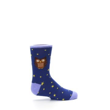 Image of Blue Brown Hoot Owl Kid's Dress Socks (side-1-24)