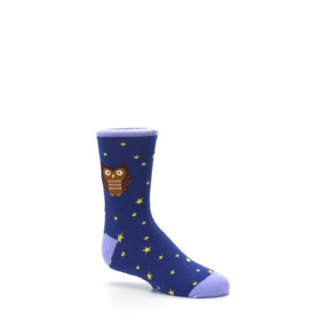 Image of Blue Brown Hoot Owl Kid's Dress Socks (side-1-26)