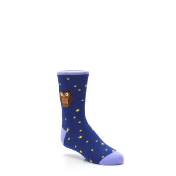 Image of Blue Brown Hoot Owl Kid's Dress Socks (side-1-27)