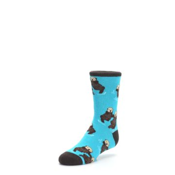 Image of Blue Significant Otter Kid's Dress Socks (side-2-front-08)