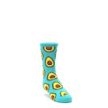 Image of Aqua Blue Avocado Kid's Dress Socks (side-1-front-02)