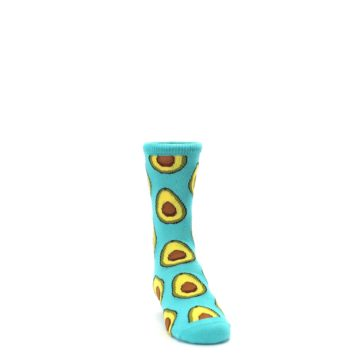 Image of Aqua Blue Avocado Kid's Dress Socks (side-1-front-03)