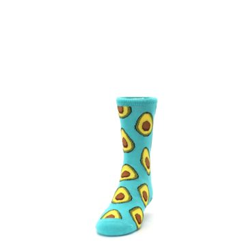 Image of Aqua Blue Avocado Kid's Dress Socks (side-2-front-06)