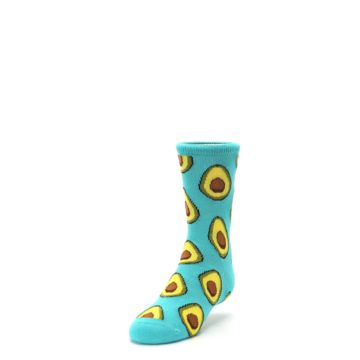 Image of Aqua Blue Avocado Kid's Dress Socks (side-2-front-07)