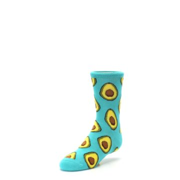 Image of Aqua Blue Avocado Kid's Dress Socks (side-2-front-08)