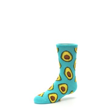 Image of Aqua Blue Avocado Kid's Dress Socks (side-2-09)