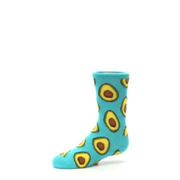 Image of Aqua Blue Avocado Kid's Dress Socks (side-2-10)