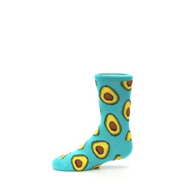 Image of Aqua Blue Avocado Kid's Dress Socks (side-2-11)