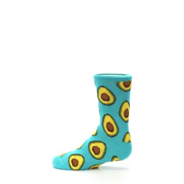 Image of Aqua Blue Avocado Kid's Dress Socks (side-2-12)