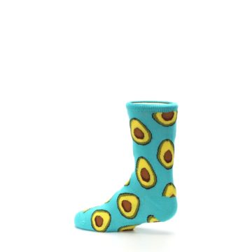 Image of Aqua Blue Avocado Kid's Dress Socks (side-2-13)