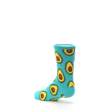 Image of Aqua Blue Avocado Kid's Dress Socks (side-2-back-14)