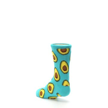 Image of Aqua Blue Avocado Kid's Dress Socks (side-2-back-15)