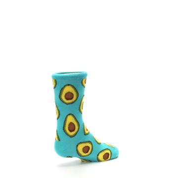 Image of Aqua Blue Avocado Kid's Dress Socks (side-1-back-22)