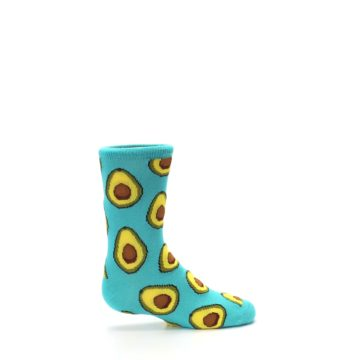 Image of Aqua Blue Avocado Kid's Dress Socks (side-1-24)