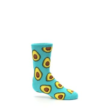 Image of Aqua Blue Avocado Kid's Dress Socks (side-1-25)