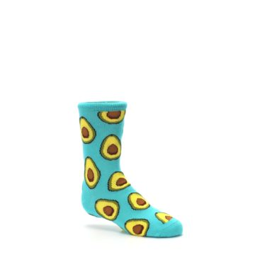 Image of Aqua Blue Avocado Kid's Dress Socks (side-1-26)