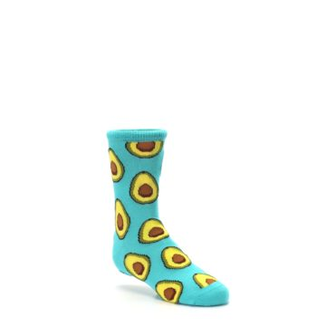 Image of Aqua Blue Avocado Kid's Dress Socks (side-1-27)