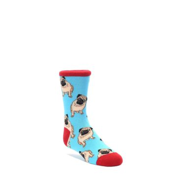 Blue-Tan-Pug-Dog-Kids-Dress-Socks-Socksmith