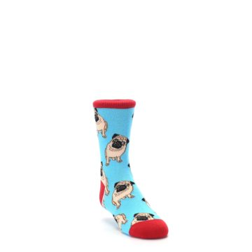 Image of Blue Tan Pug Dog Kid's Dress Socks (side-1-front-02)