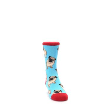 Image of Blue Tan Pug Dog Kid's Dress Socks (side-1-front-03)