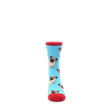 Image of Blue Tan Pug Dog Kid's Dress Socks (front-04)