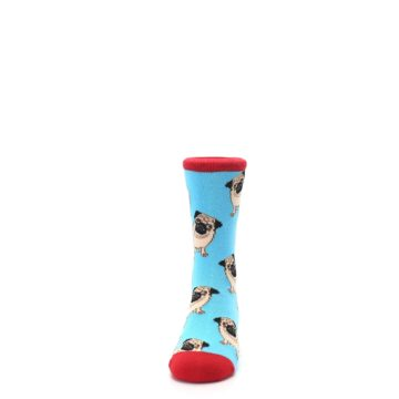 Image of Blue Tan Pug Dog Kid's Dress Socks (front-05)