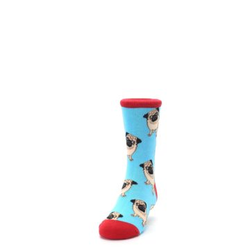 Image of Blue Tan Pug Dog Kid's Dress Socks (side-2-front-06)