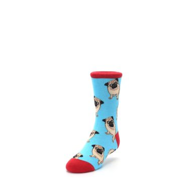 Image of Blue Tan Pug Dog Kid's Dress Socks (side-2-front-07)