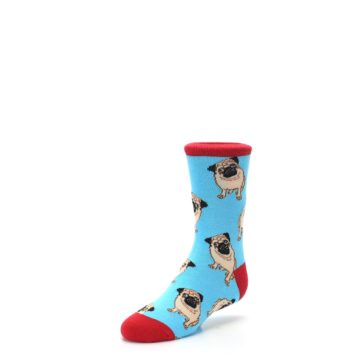 Image of Blue Tan Pug Dog Kid's Dress Socks (side-2-front-08)